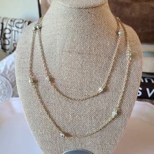 Long Double Necklace with Rhinestones